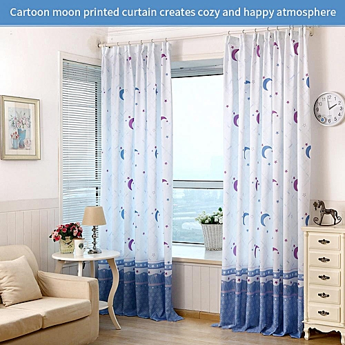 Generic Country Style Moon Printed Window Curtain Half