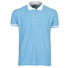 Sky Blue Men's T-Shirt With Striped Collar
