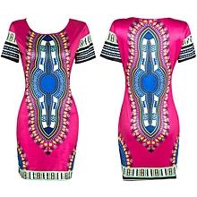 Hiamok Women Traditional African Print Dashiki Bodycon Sexy Short Sleeve Dress Hot/XL