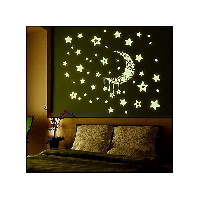 Diy night light glow in the dark moon stars wall stickers for Home decorations on jumia