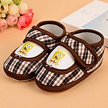 Refined Baby Kids Toddler Warm Shoes 0-1 Years Baby Soft Bottom Shoes Spongebob Antiskid Shoes-Coffee