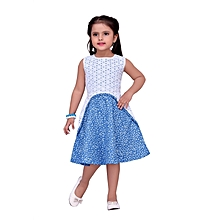 Blue Cotton dress with with floral pattern & lace applique