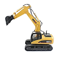 Remote Control Alloy Excavator Toy, Simulate Real RC, 2.4Ghz, 15 Channel, Scale 1:14, Construction Toy, 1550, HUINA - Deep Yellow Colour.