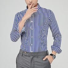 Stripe Long Sleeve Shirts For Men Formal Shirts (Lake Blue)