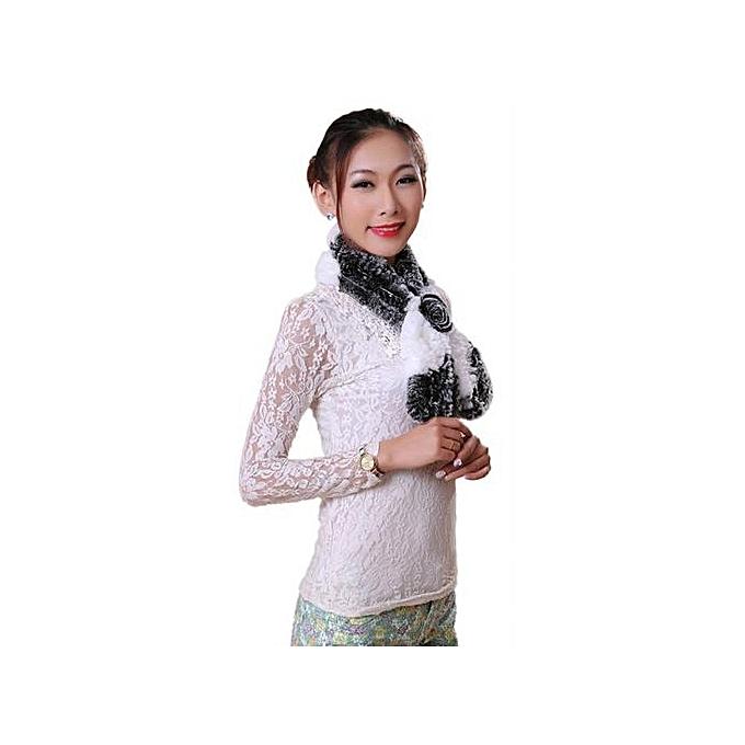 1e1a4bb6e1c Hiaojbk Store Women Winter Scarf Lady Casual Fur Scarves Fur Ball Velvet  Scarf White-White