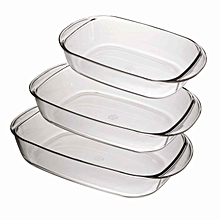 Ovenchef Clear Rectangular Roaster - 3 Pcs Set