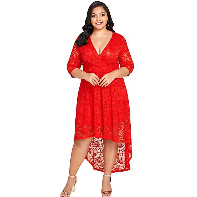 c97a5b853ab02 Fashion New Women Plus Size Lace Dress Cross Front High-Low Hem Deep ...