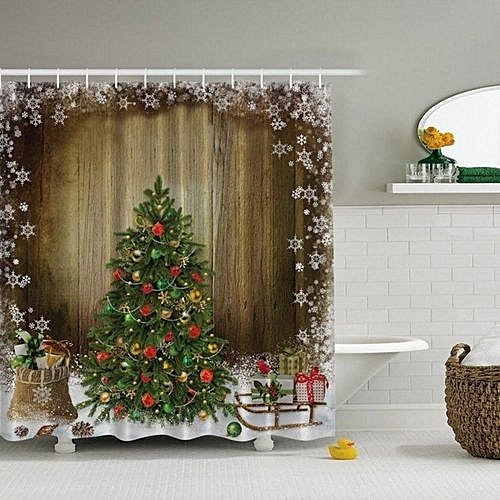 70 X 70inch Christmas Tree Presents Rustic Wood Fabric Shower Curtain Snowflake