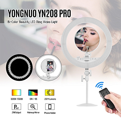 YONGNUO YN208 PRO 3200K-5500K Bi-Color LED Video Light Ring Type Beautify  Fill light with Make-up Mirror Remote Control Support Mobile APP Contorl  for