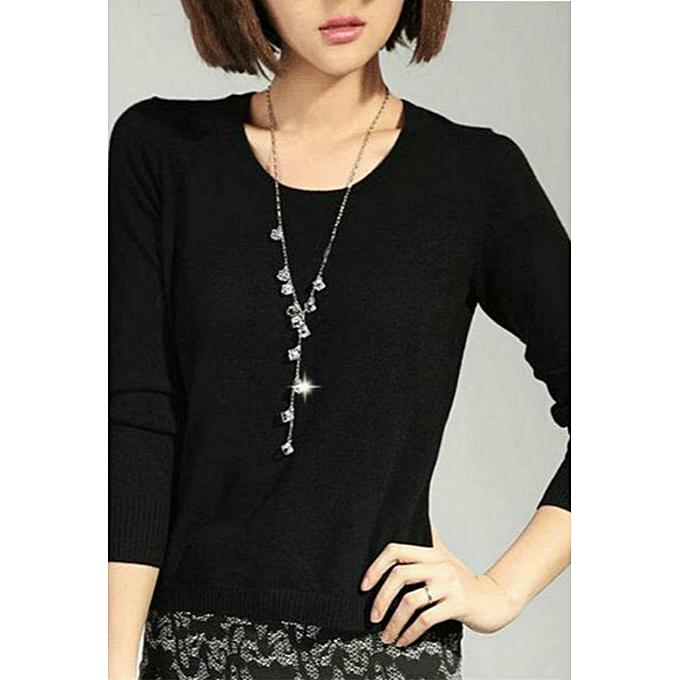 093c8df2347 Austrian crystal sweater chain long Korean dress pendant wild decorative  necklace female simple accessories(White