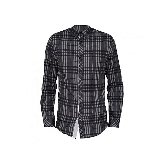 Grey Checked Long Sleeved Mens Casual Shirts