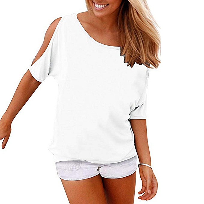 23f04d8c749bea birthpar store Women s Summer Casual T Shirts Cold Shoulder Short Sleeve  Blouse Solid Tops -White