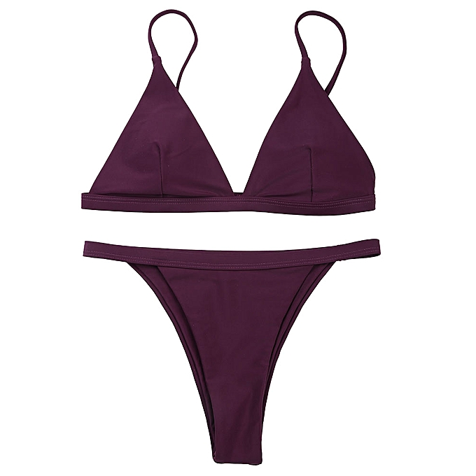 9fcca53bfd BELLEZIVA Spaghetti Strap Low Waisted Bikini Swimwear - Red Wine ...