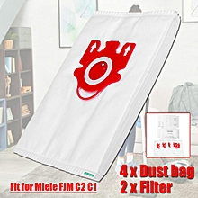 4 Vacuum Cleaner Dust Bag + 2 Filter Cleaning Accessories For Miele FJM C2 C1