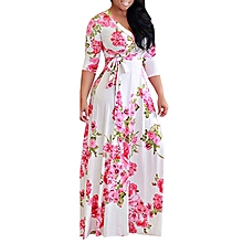 Plus Size Floral Printed Party Maxi Dress Ankara Gown Style-Pink
