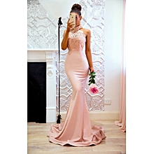 Nancy Ladies Gown Backless  Wrap Vestidos Dinner Dress-Pink