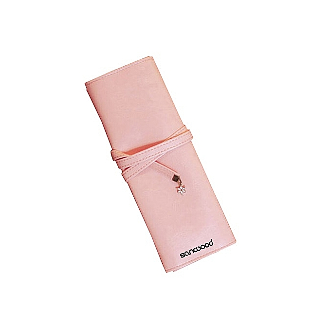 dd8bad4a5aee57 Vintage Roll Faux Leather Makeup Cosmetic Brush Pen Pencil Case Organizer  Pouch Bag 9IKA(Pink