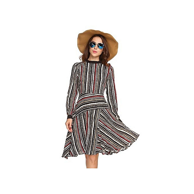 ef1420cf5c52 Sunshine Women Fashion O-Neck Long Sleeve Asymmetric Striped Dress ...