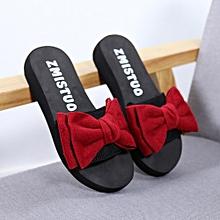 33591953b165 Women Bow Summer Sandals Slipper Indoor Outdoor Flip-flops Beach Shoes Red
