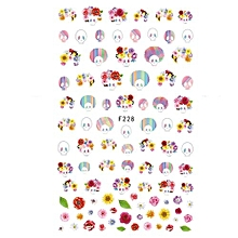 Fancyqube 3D Nail Stickers Adhesive Decals Manicure Decoration Flamingo Flowers Cartoon