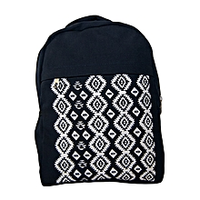 Navy blue canvas trendy school bag with tribal prints