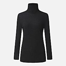 ZANZEA Women Slim Turtleneck Long Sleeve Sweaters Knitted Tops Fashion Long Sleeve Plus Size Pull Femme Jumpers Dark Black