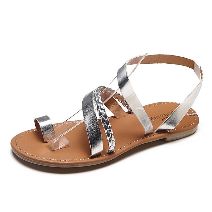 3454a54b918f50 Generic Women Summer Strappy Gladiator Low Flat Heel Flip Flops Beach Sandals  Shoes A1