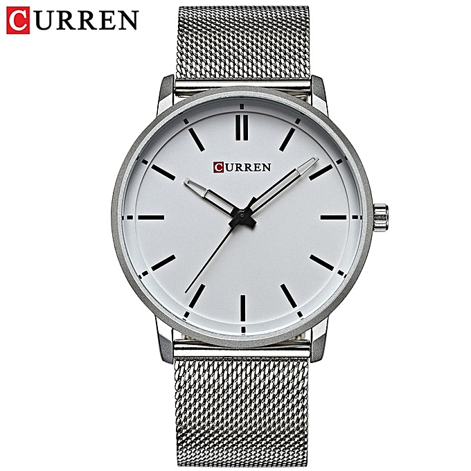 Top Luxury Brand Watches Men Stainless Steel Mesh Strap Quartz Watch Ultra Thin Dial Clock