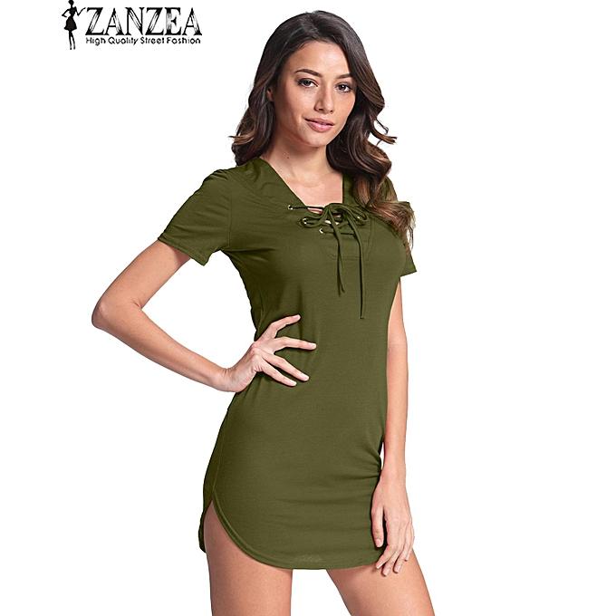 a56004b0f4 ZANZEA Women V Neck Lace Up Clubwear Summer Party Bodycon Mini Dress