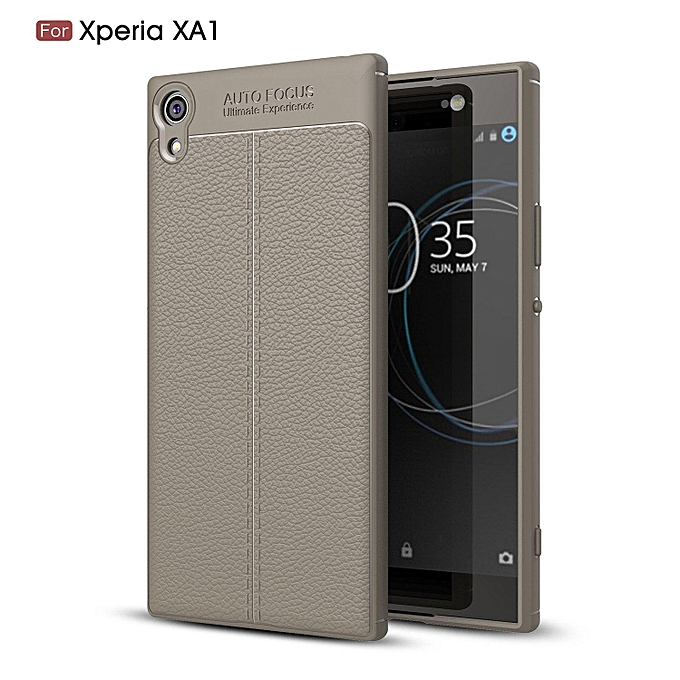 hot sale online b51db df167 PU Leather Litchi Pattern Case For Sony Xperia XA1 Soft TPU Silicone Back  Cover For Sony XA1 G3121 G3112 G3123 G3116 Case Cover (Grey)