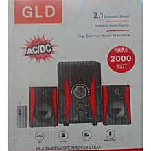 SUB WOOFER 2.1 CH HIGH DEFINITION  SOUND FM,USB/SD,REMOTE,2000 WATTS P.M.P.O