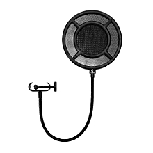 PS - 1 Microphone Pop Filter Round Shape Wind Mask Shield Screen for Studio Recording-Black