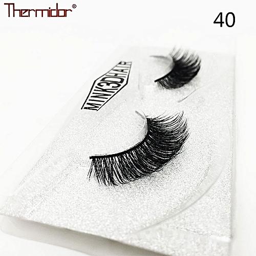 5d8da85ce61 Generic 3D Mink Eyelashes Thick Real Mink Messy Professional Make up Korean  Natural False Lashes Reusable Extention(40)