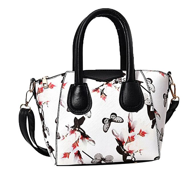 guoaivo Women Small Satchel bag Flower Butterfly Printed Shoulder Bag Crossbody Bag WH