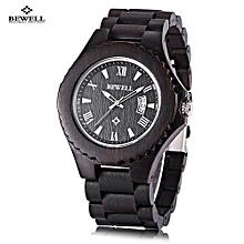 ZS - W129A Male Wooden Quartz Watch Date Luminous Display Japan Movt Wristwatch-EBONY