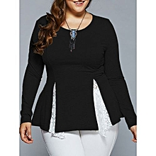 Women Lace Insert Asymmetrical Blouse - Black