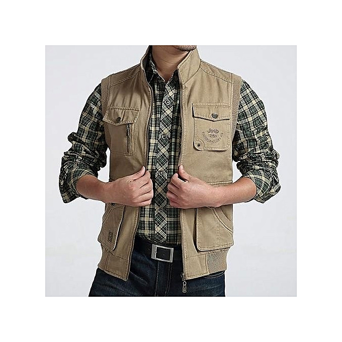 20609efbafd AFSJEEP Mens Big Size Casual Outdoor Washed Double Sided Wear Multi  Functions Vest Khaki