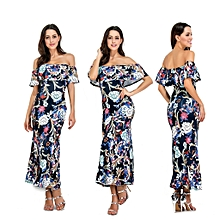 Floral Printed Off Shoulder Bodycon Party Maxi Dress-Multi