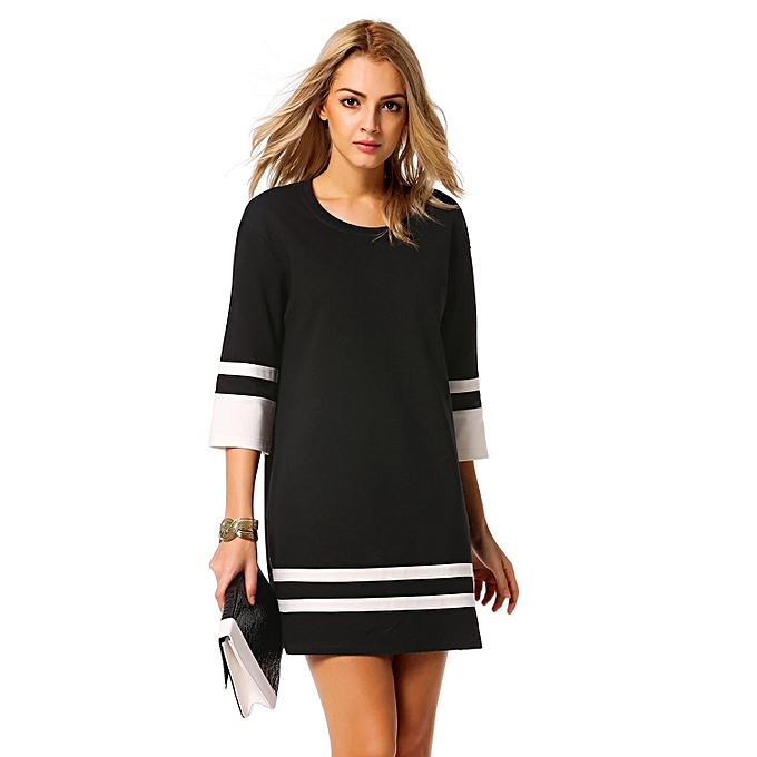 Buy Zeagoo Cyber Casual Slim Dress Round Neck 34 Sleeve Patchwork