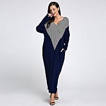 Celmia Womens Fashion V Neck Long Sleeve Striped Patchwork Casual Loose Long Maxi Dress Blue
