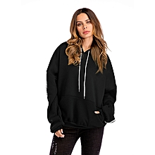 Women Fashion Thicke Long Sleeve With Pocket Hoodies - Black