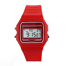 bluerdream-New Silicone Rubber Strap Retro Vintage Digital Watch Boys Girls Mens -Red