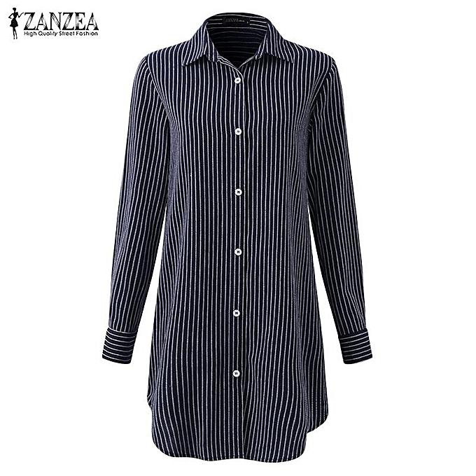 aeaeafd5d ... ZANZEA Button Down Shirt Dress Women Long Sleeve Buttons Striped Casual  Blouse Navy Blue ...