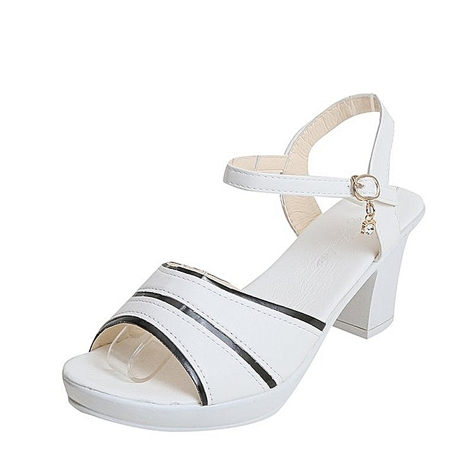ef4402980 New Stylish Color Patchwork High Heel Sandals Thick Heel Open Toe Summer  Shoes-White