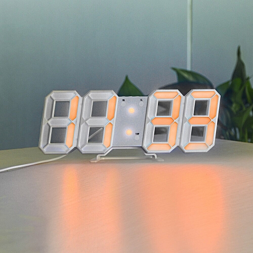 Generic Digital Clock 3D LED Wall Clock Digital Display Electronic Table  Clock Horloge Alarm Nightlight Watch For Home Office Decoration(White Shell  Orange)