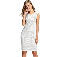 Meaneor Women Sleeveless Studded Bodycon Slim Fit Party Dress ( White )