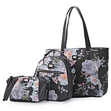 3 PIECE Women Floral Crossbody Femal Purse Bag Backpack