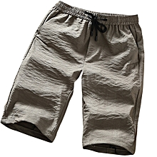 Men's Breathable Loose Casual Shorts Summer Solid Color Thin Knee-Length Shorts Pants