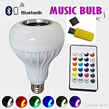 LED Music Bulb With Bluetooth,Music Player And Free Flashdisk - White