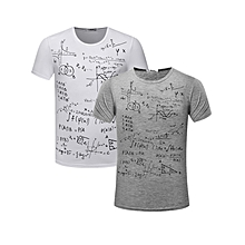2 pieces Men's Crewneck Short Sleeve T-Shirt Mathematical equation Printed Grey and White
